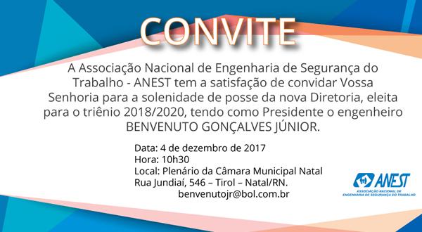 CONVITE PARA A SOLENIDADE DE POSSE DA NOVA DIRETORIA, ELEITA PARA O TRIÊNIO 2018/2020