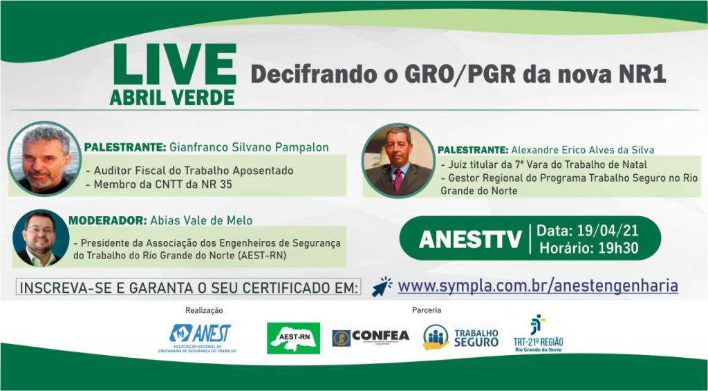 """Live """"Decifrando o GRO/PGR da nova NR 1"""""""
